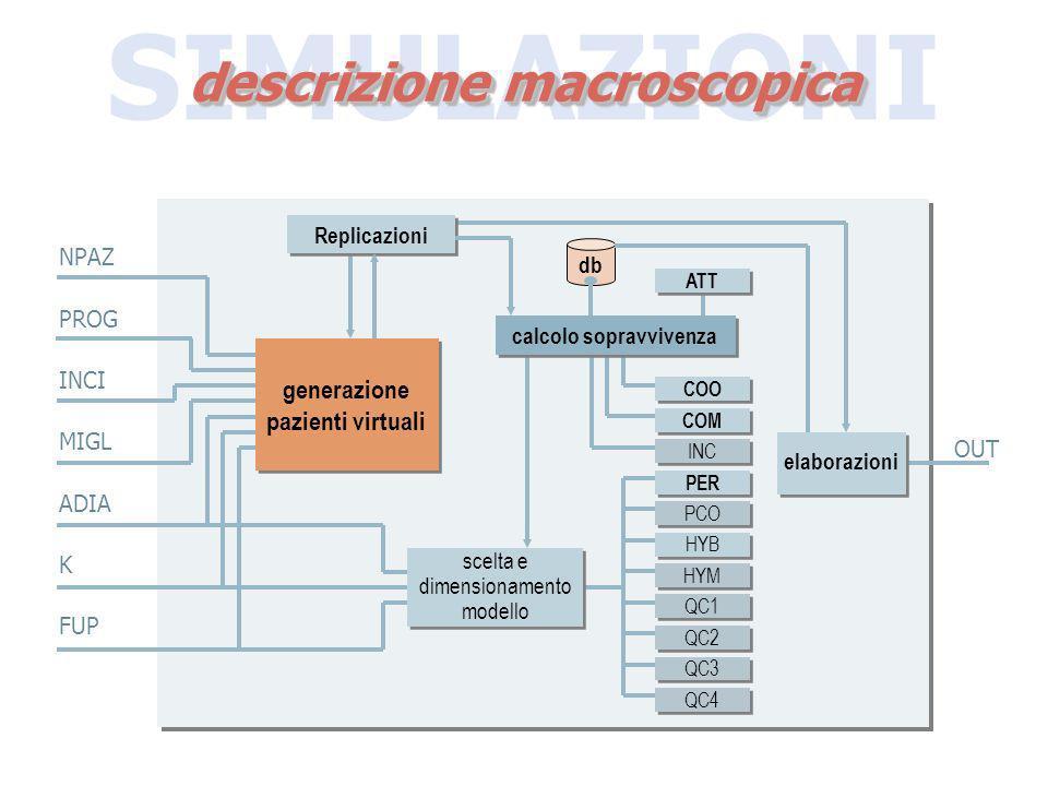 SIMULAZIONI descrizione macroscopica db generazione pazienti virtuali calcolo sopravvivenza COO COM PER QC1 QC2 QC3 QC4 INC PCO HYB HYM scelta e dimen