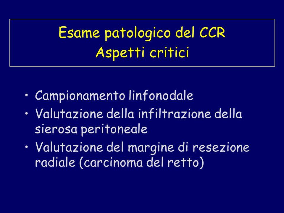 Esame patologico del CCR Aspetti critici Campionamento linfonodale Valutazione della infiltrazione della sierosa peritoneale Valutazione del margine d