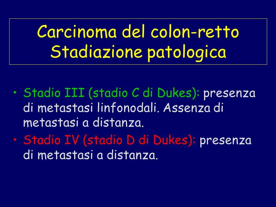 Carcinoma del colon-retto Stadiazione patologica Stadio III (stadio C di Dukes): presenza di metastasi linfonodali. Assenza di metastasi a distanza. S