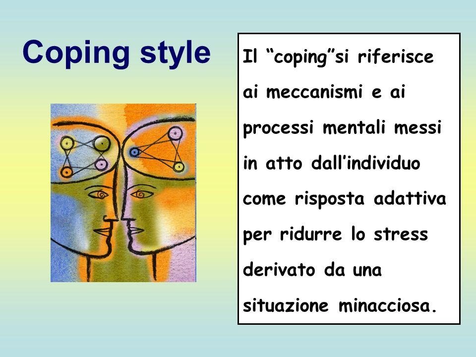 Coping style Il copingsi riferisce ai meccanismi e ai processi mentali messi in atto dallindividuo come risposta adattiva per ridurre lo stress deriva