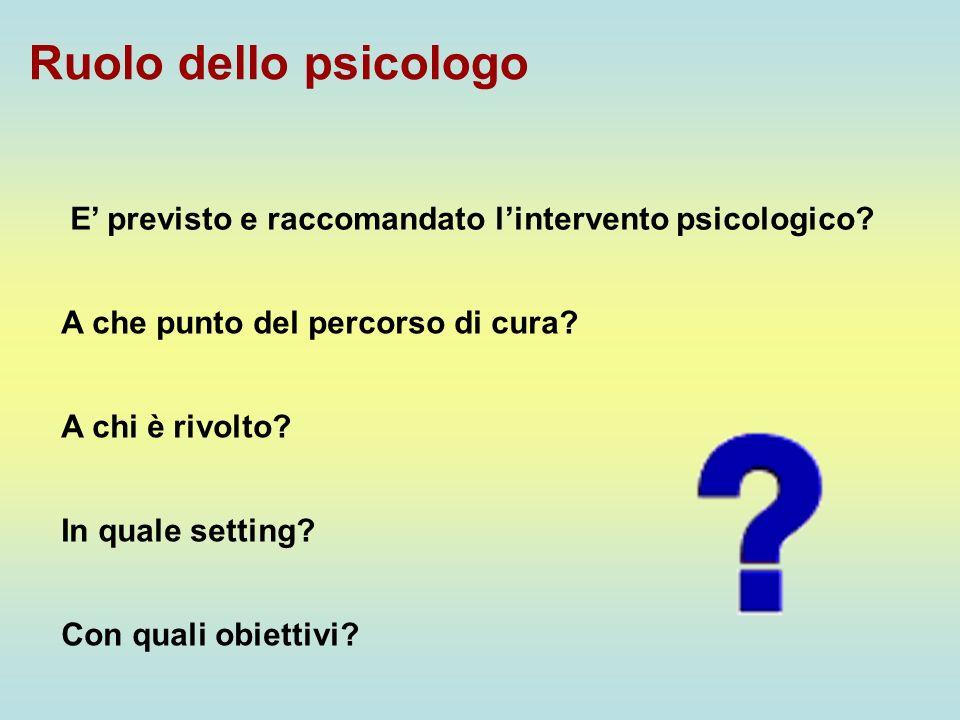 Ruolo dello psicologo E previsto e raccomandato lintervento psicologico? A che punto del percorso di cura? A chi è rivolto? In quale setting? Con qual