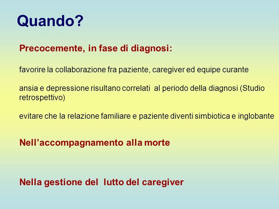 Quando? Nella gestione del lutto del caregiver Precocemente, in fase di diagnosi: favorire la collaborazione fra paziente, caregiver ed equipe curante