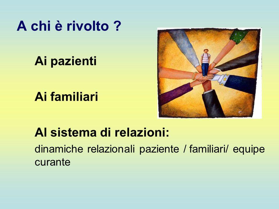 A chi è rivolto ? Ai pazienti Ai familiari Al sistema di relazioni: dinamiche relazionali paziente / familiari/ equipe curante