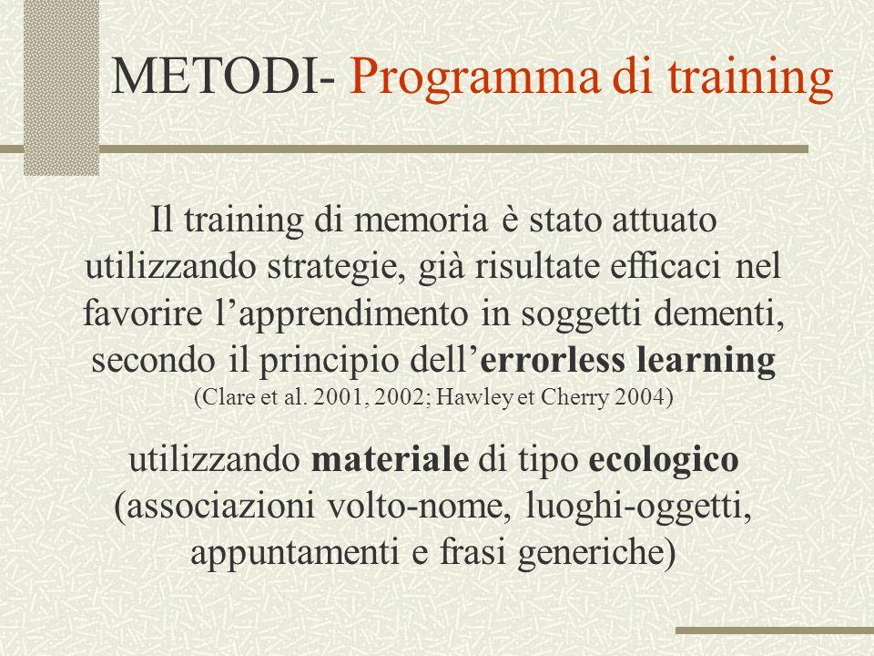 METODI- Programma di training Il training di memoria è stato attuato utilizzando strategie, già risultate efficaci nel favorire lapprendimento in sogg