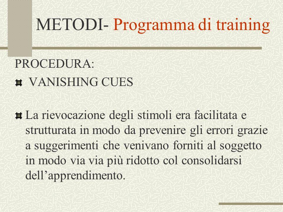 METODI- Programma di training PROCEDURA: VANISHING CUES La rievocazione degli stimoli era facilitata e strutturata in modo da prevenire gli errori gra