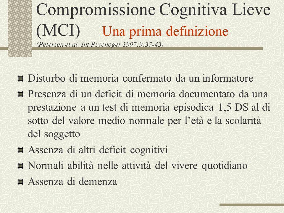 Compromissione Cognitiva Lieve (MCI) Una prima definizione (Petersen et al. Int Psychoger 1997;9:37-43) Disturbo di memoria confermato da un informato