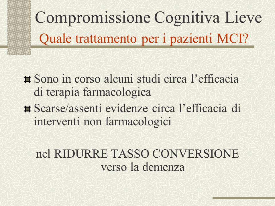 Compromissione Cognitiva Lieve Quale trattamento per i pazienti MCI? Sono in corso alcuni studi circa lefficacia di terapia farmacologica Scarse/assen