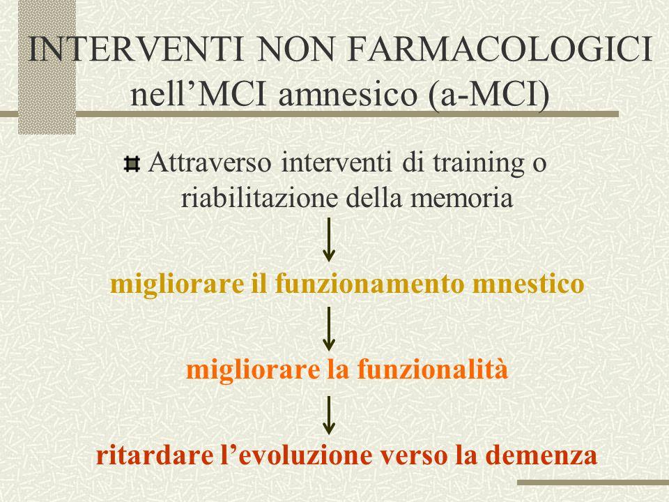 INTERVENTI NON FARMACOLOGICI nellMCI amnesico (a-MCI) Attraverso interventi di training o riabilitazione della memoria migliorare il funzionamento mne