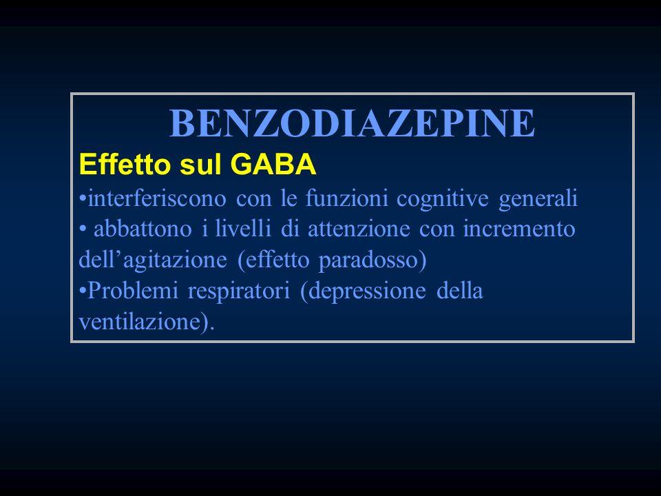 BENZODIAZEPINE Effetto sul GABA interferiscono con le funzioni cognitive generali abbattono i livelli di attenzione con incremento dellagitazione (eff