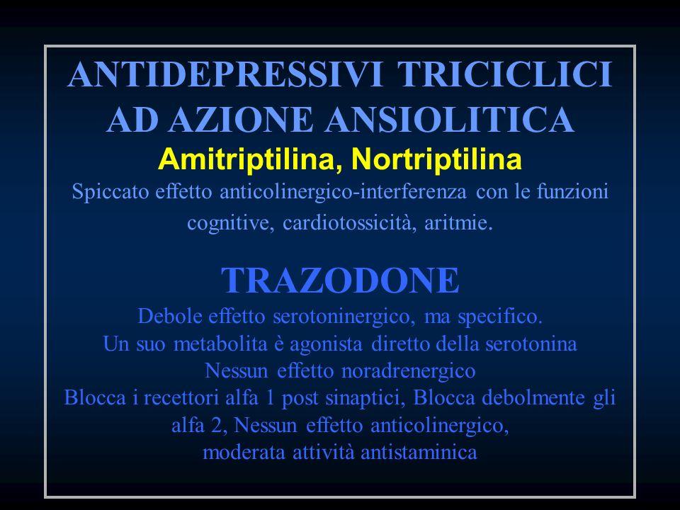 ANTIDEPRESSIVI TRICICLICI AD AZIONE ANSIOLITICA Amitriptilina, Nortriptilina Spiccato effetto anticolinergico-interferenza con le funzioni cognitive,