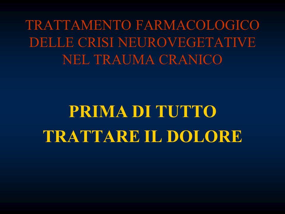 TRATTAMENTO FARMACOLOGICO DELLE CRISI NEUROVEGETATIVE NEL TRAUMA CRANICO PRIMA DI TUTTO TRATTARE IL DOLORE