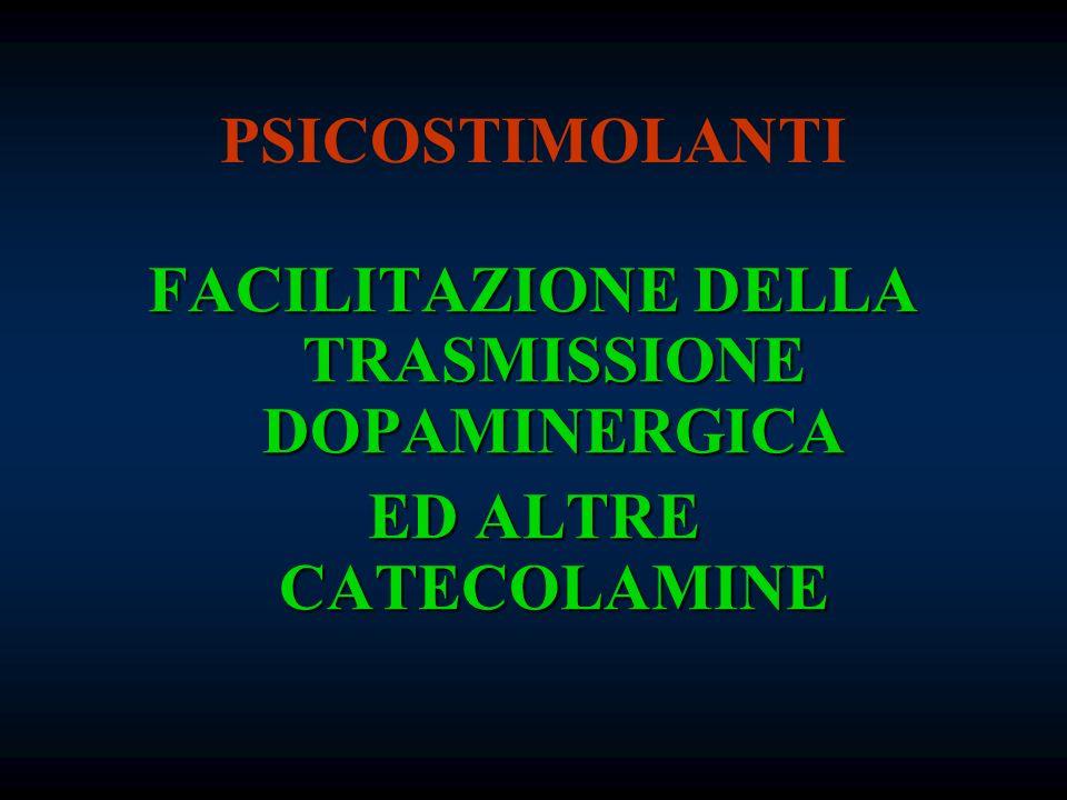 PSICOSTIMOLANTI FACILITAZIONE DELLA TRASMISSIONE DOPAMINERGICA ED ALTRE CATECOLAMINE