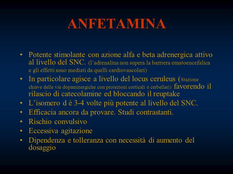 ANFETAMINA Potente stimolante con azione alfa e beta adrenergica attivo al livello del SNC. (ladrenalina non supera la barriera ematoencefalica e gli