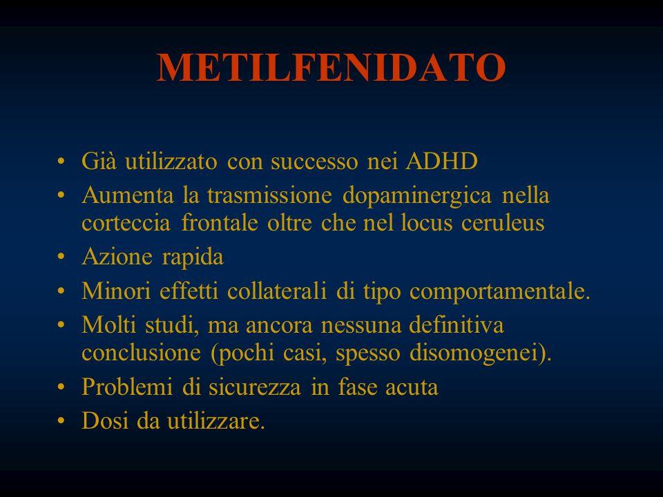 METILFENIDATO Già utilizzato con successo nei ADHD Aumenta la trasmissione dopaminergica nella corteccia frontale oltre che nel locus ceruleus Azione