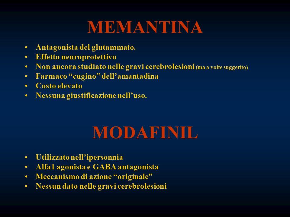 MEMANTINA Antagonista del glutammato. Effetto neuroprotettivo Non ancora studiato nelle gravi cerebrolesioni (ma a volte suggerito) Farmaco cugino del