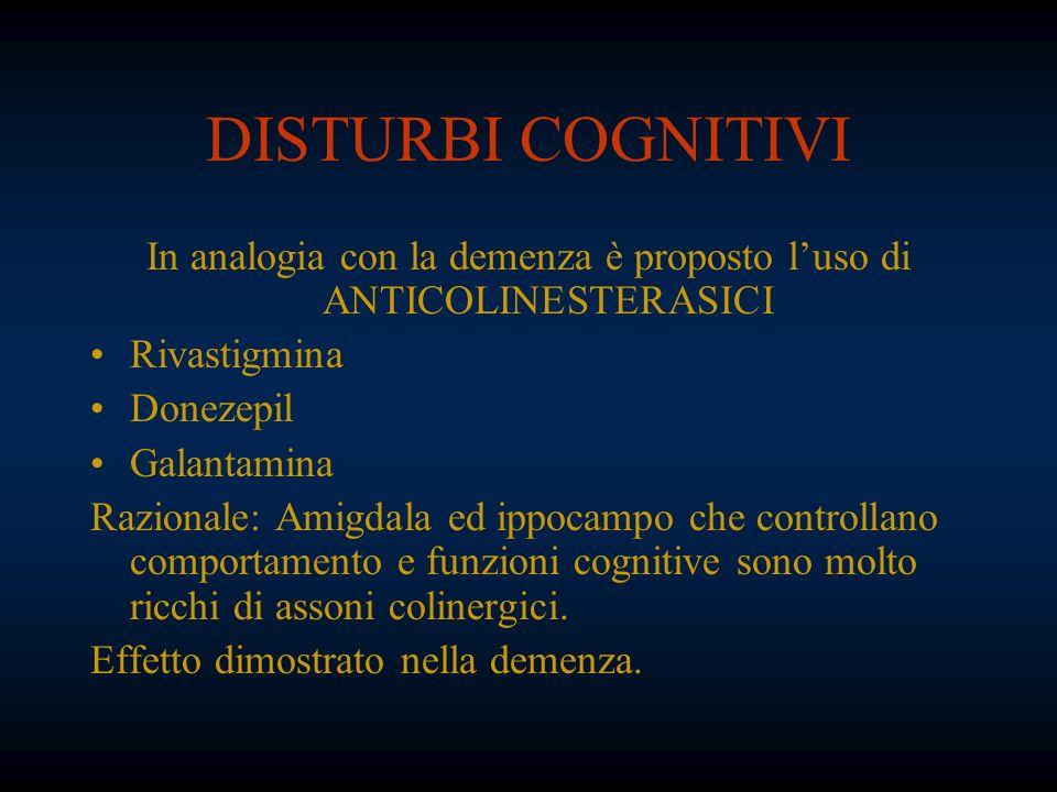 DISTURBI COGNITIVI In analogia con la demenza è proposto luso di ANTICOLINESTERASICI Rivastigmina Donezepil Galantamina Razionale: Amigdala ed ippocam