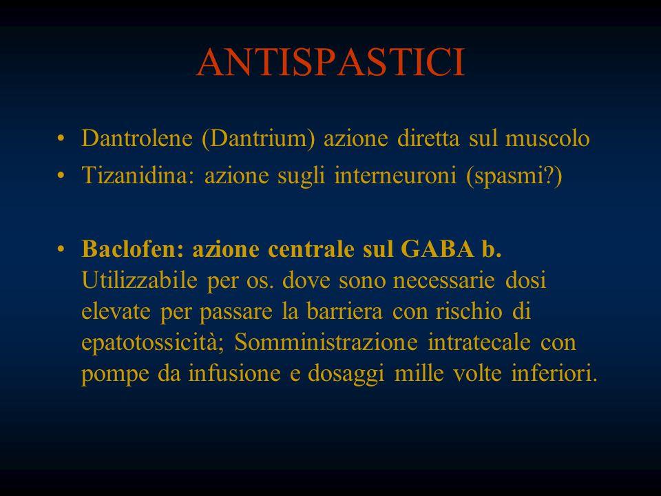 ANTISPASTICI Dantrolene (Dantrium) azione diretta sul muscolo Tizanidina: azione sugli interneuroni (spasmi?) Baclofen: azione centrale sul GABA b. Ut