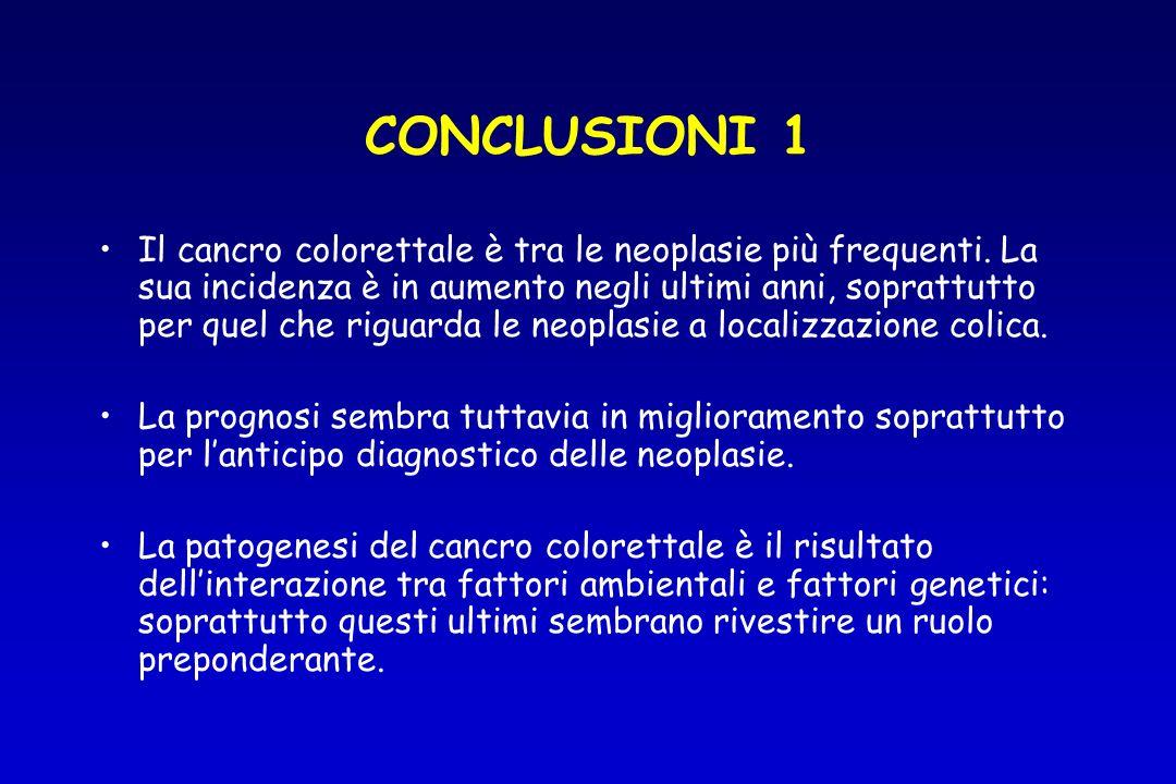 CONCLUSIONI 1 Il cancro colorettale è tra le neoplasie più frequenti. La sua incidenza è in aumento negli ultimi anni, soprattutto per quel che riguar