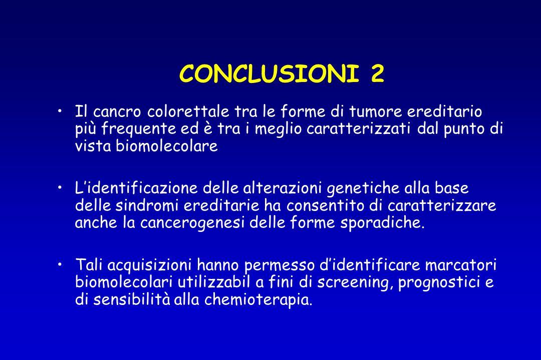 CONCLUSIONI 2 Il cancro colorettale tra le forme di tumore ereditario più frequente ed è tra i meglio caratterizzati dal punto di vista biomolecolare