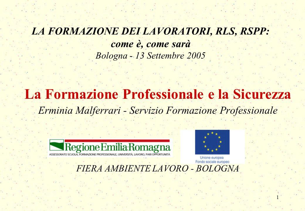 1 LA FORMAZIONE DEI LAVORATORI, RLS, RSPP: come è, come sarà Bologna - 13 Settembre 2005 La Formazione Professionale e la Sicurezza Erminia Malferrari - Servizio Formazione Professionale FIERA AMBIENTE LAVORO - BOLOGNA