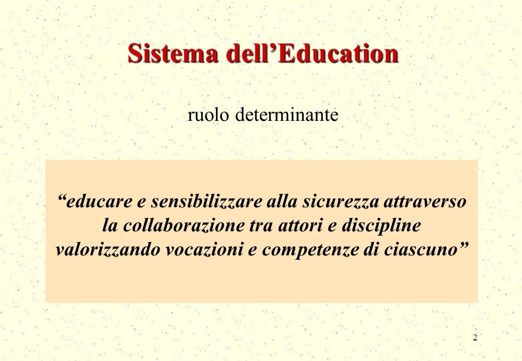 2 Sistema dellEducation ruolo determinante educare e sensibilizzare alla sicurezza attraverso la collaborazione tra attori e discipline valorizzando vocazioni e competenze di ciascuno