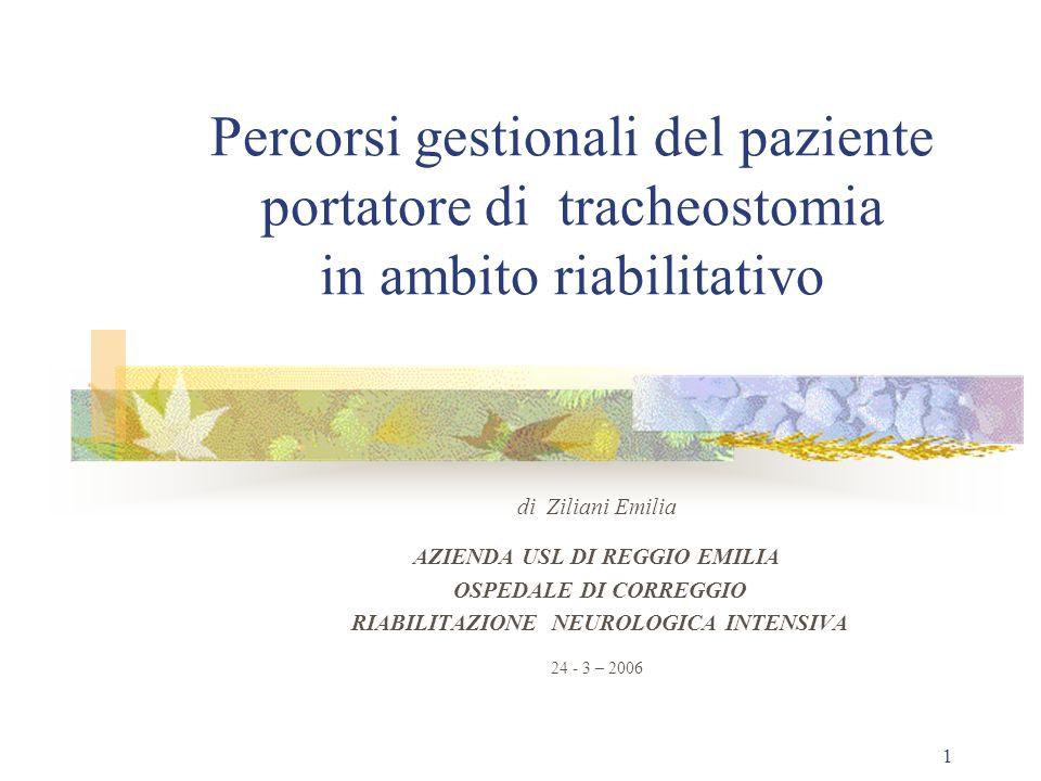 1 Percorsi gestionali del paziente portatore di tracheostomia in ambito riabilitativo di Ziliani Emilia AZIENDA USL DI REGGIO EMILIA OSPEDALE DI CORREGGIO RIABILITAZIONE NEUROLOGICA INTENSIVA 24 - 3 – 2006