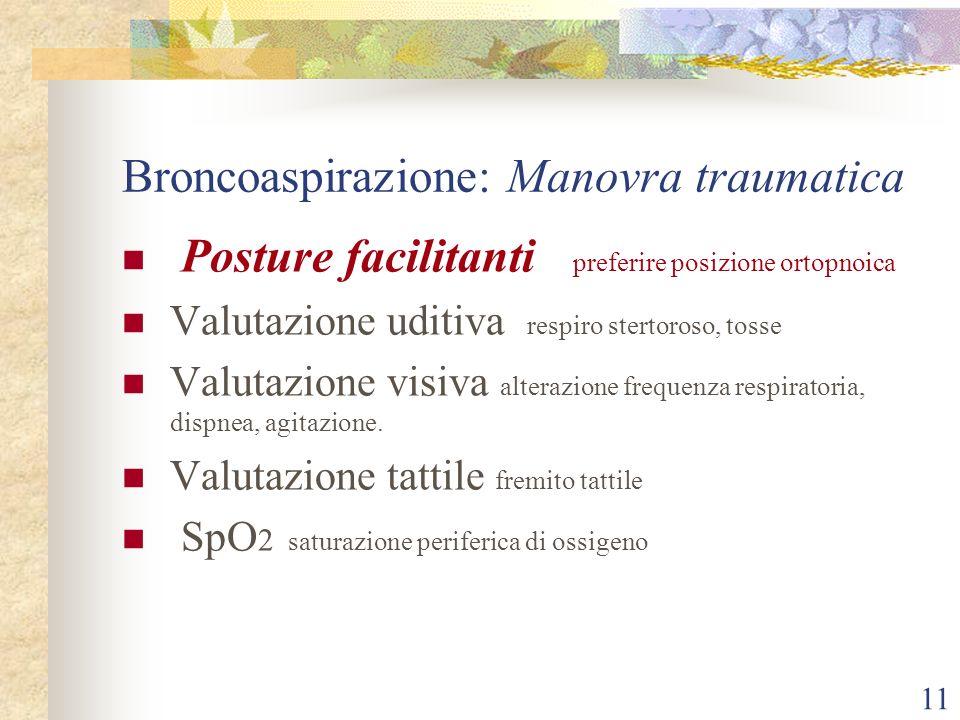 11 Broncoaspirazione: Manovra traumatica Posture facilitanti preferire posizione ortopnoica Valutazione uditiva respiro stertoroso, tosse Valutazione visiva alterazione frequenza respiratoria, dispnea, agitazione.