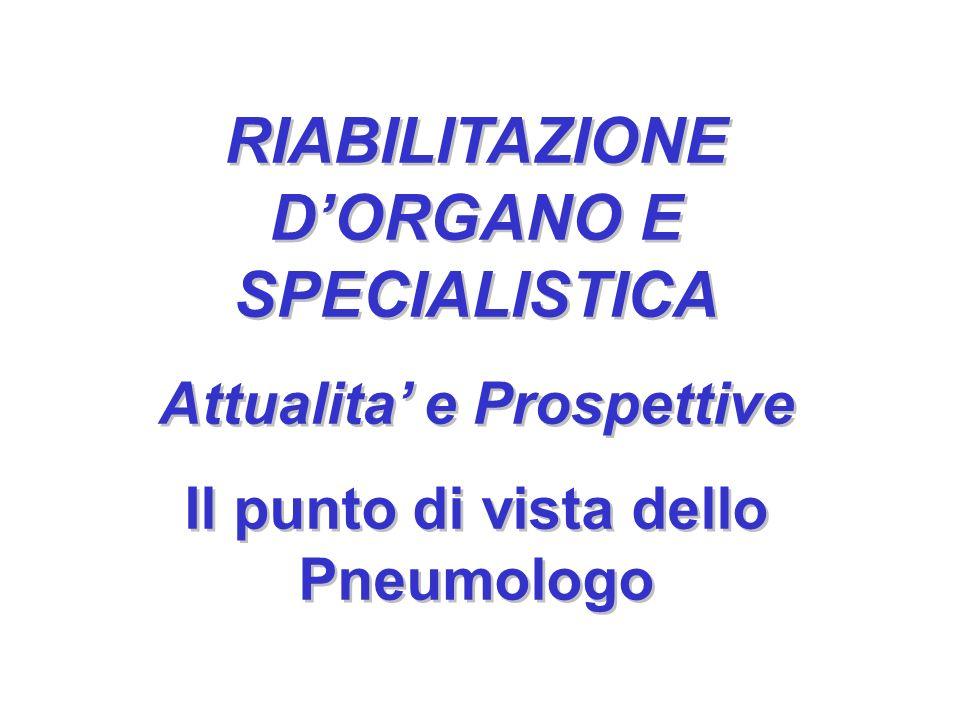 RIABILITAZIONE DORGANO E SPECIALISTICA Attualita e Prospettive Il punto di vista dello Pneumologo RIABILITAZIONE DORGANO E SPECIALISTICA Attualita e P