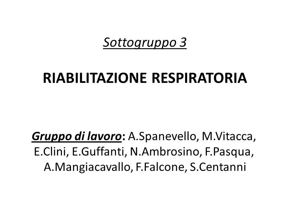 Sottogruppo 3 RIABILITAZIONE RESPIRATORIA Gruppo di lavoro: A.Spanevello, M.Vitacca, E.Clini, E.Guffanti, N.Ambrosino, F.Pasqua, A.Mangiacavallo, F.Fa