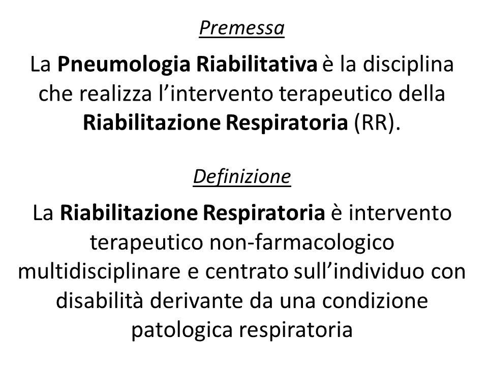 Premessa La Pneumologia Riabilitativa è la disciplina che realizza lintervento terapeutico della Riabilitazione Respiratoria (RR). Definizione La Riab
