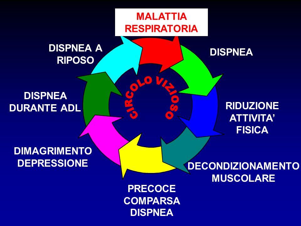 FATTORI LIMITANTI LESERCIZIO NEL BPCO RIDOTTA RISERVA VENTILATORIA IPERINFLAZIONE DINAMICA DEI POLMONI AUMENTATA RICHIESTA VENTILATORIA ATROFIA MUSCOLARE, MALNUTRIZIONE DIMINUITA DENSITA CAPILLARE ALTERAZIONI BIOENERGETICHE ACIDOSI METABOLICA CENTRALI PERIFERICI