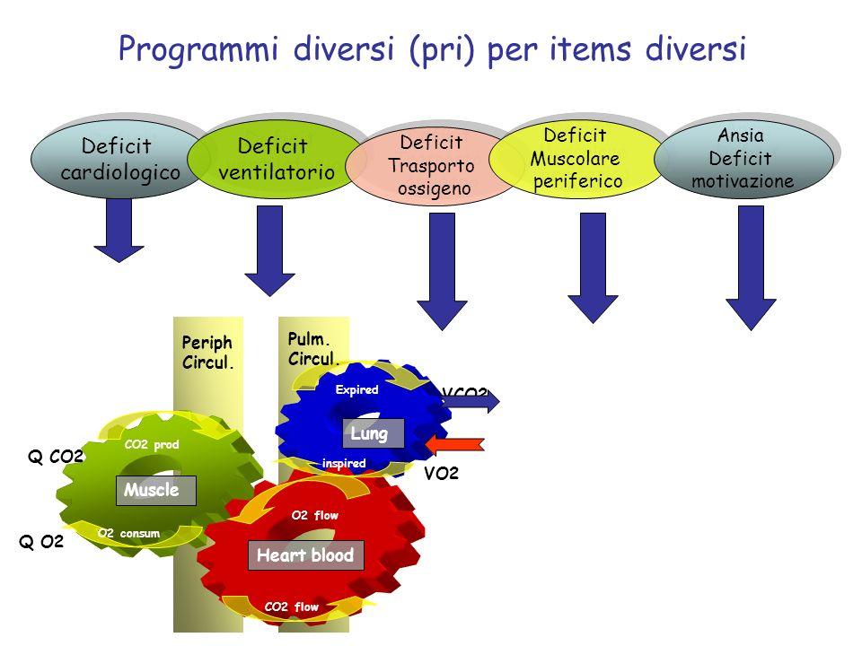 Programmi diversi (pri) per items diversi Deficit cardiologico Deficit cardiologico Deficit ventilatorio Deficit ventilatorio Deficit Trasporto ossige