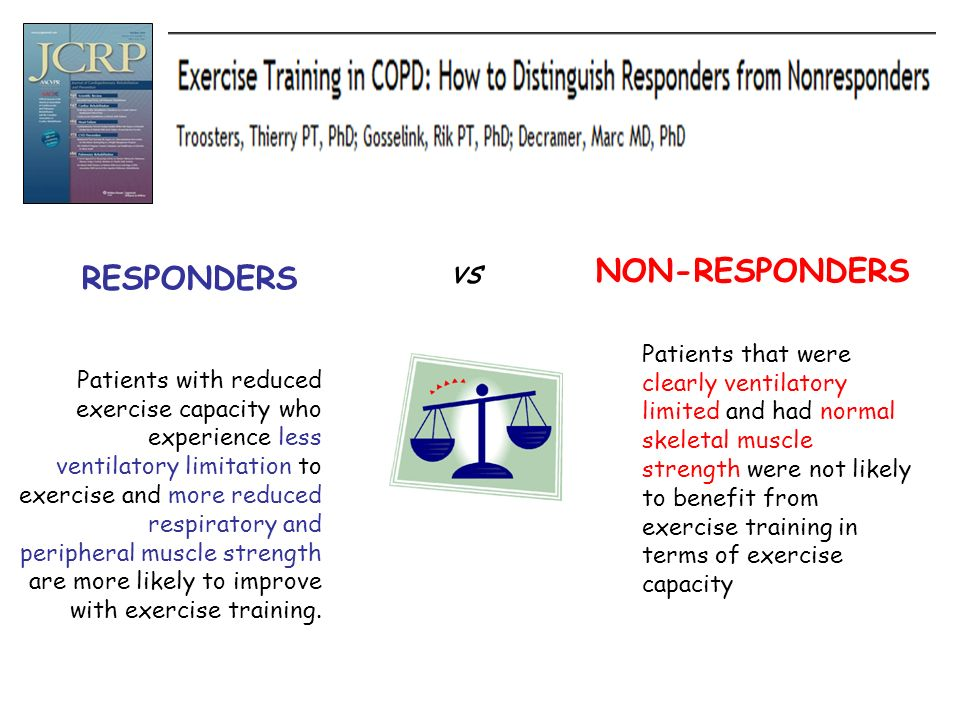 Patients with reduced exercise capacity who experience less ventilatory limitation to exercise and more reduced respiratory and peripheral muscle stre