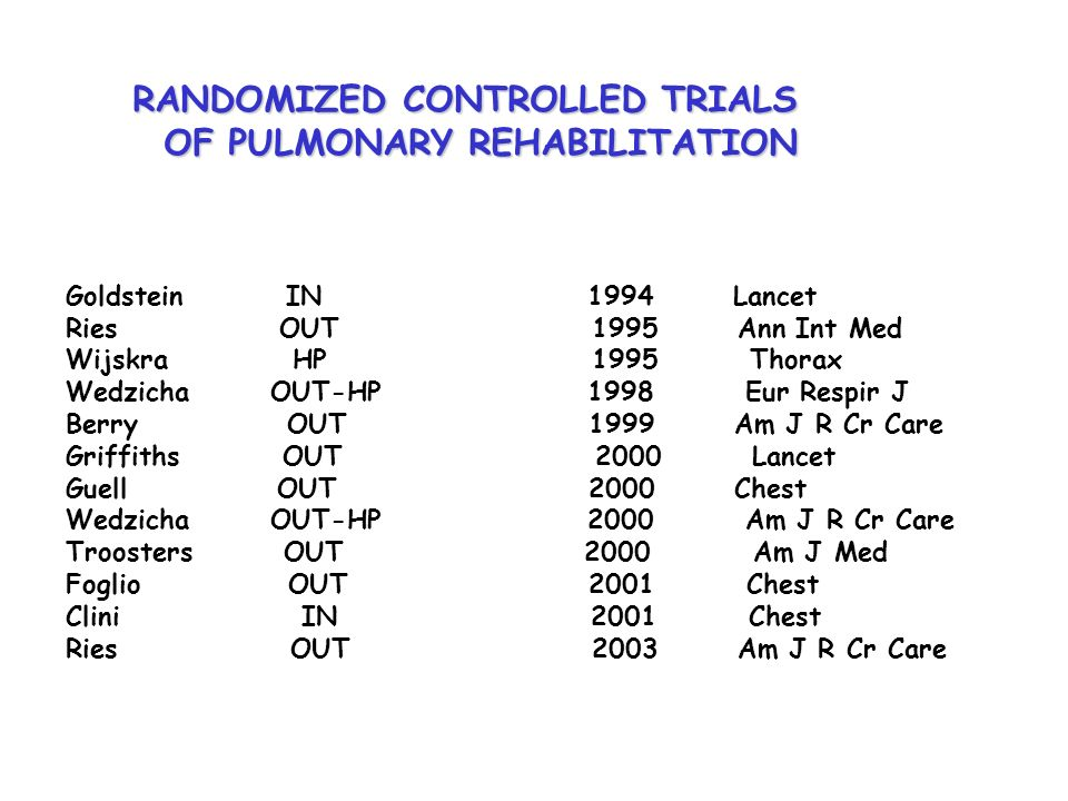 RANDOMIZED CONTROLLED TRIALS OF PULMONARY REHABILITATION OF PULMONARY REHABILITATION Goldstein IN 1994 Lancet Ries OUT 1995 Ann Int Med Wijskra HP 199