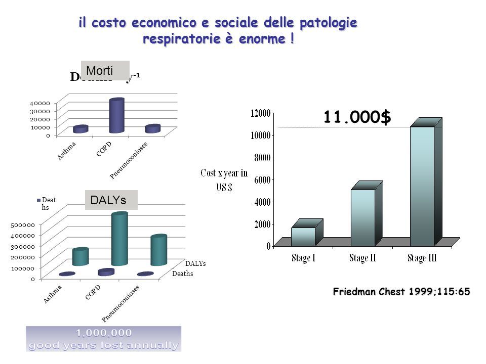 il costo economico e sociale delle patologie respiratorie è enorme ! Friedman Chest 1999;115:65 11.000$ Morti DALYs