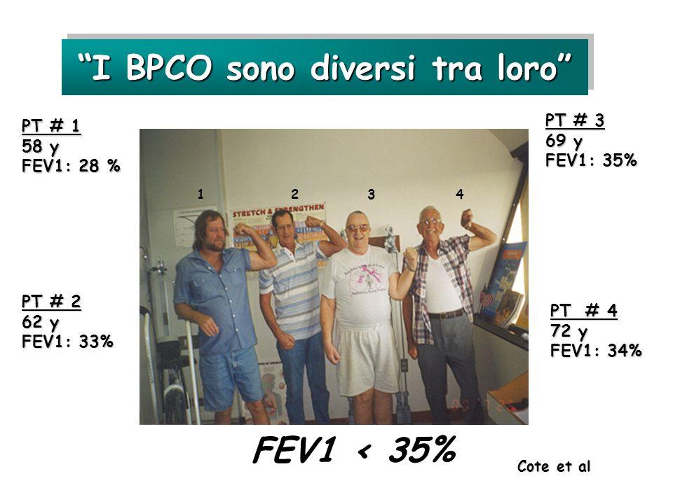 FEV1 < 35% I BPCO sono diversi tra loro PT # 1 58 y FEV1: 28 % 1 2 3 4 PT # 2 62 y FEV1: 33% PT # 3 69 y FEV1: 35% PT # 4 72 y FEV1: 34% Cote et al