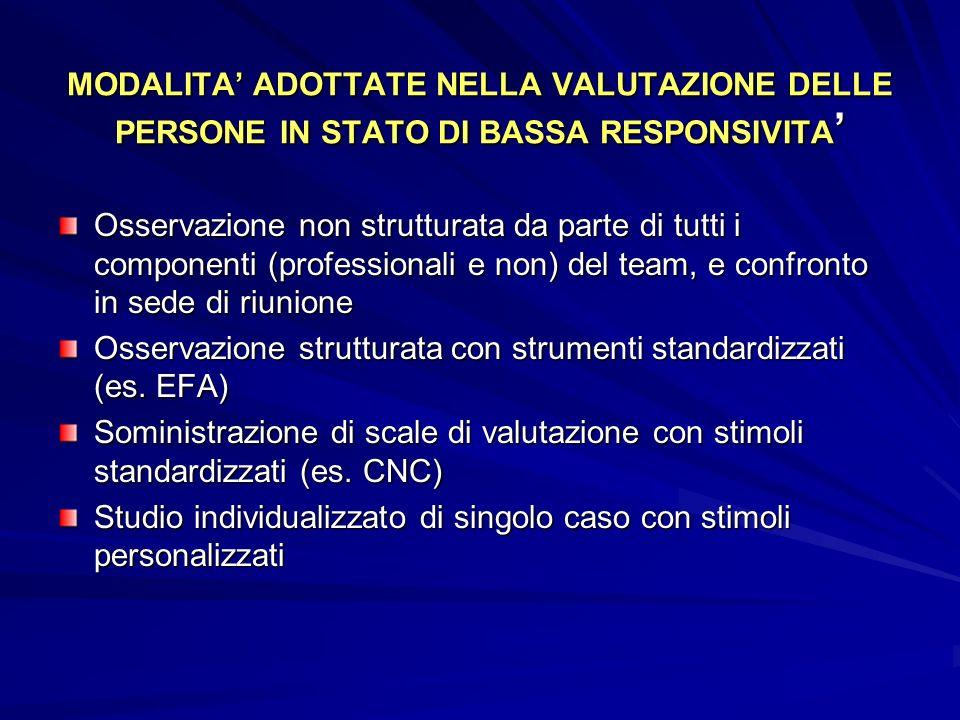 MODALITA ADOTTATE NELLA VALUTAZIONE DELLE PERSONE IN STATO DI BASSA RESPONSIVITA MODALITA ADOTTATE NELLA VALUTAZIONE DELLE PERSONE IN STATO DI BASSA R