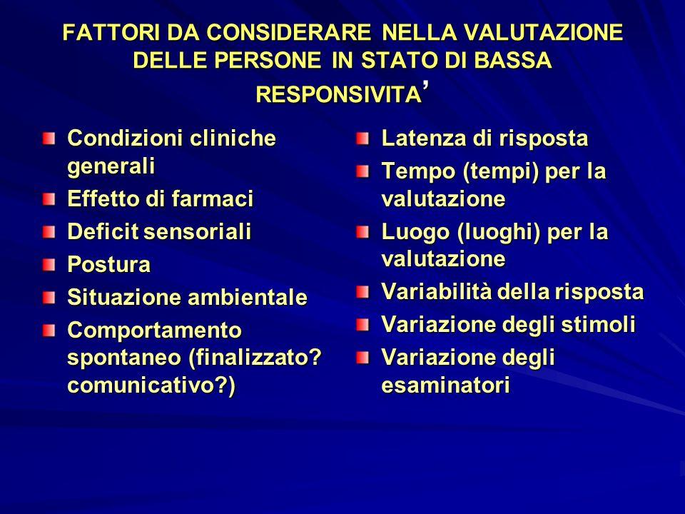 FATTORI DA CONSIDERARE NELLA VALUTAZIONE DELLE PERSONE IN STATO DI BASSA RESPONSIVITA FATTORI DA CONSIDERARE NELLA VALUTAZIONE DELLE PERSONE IN STATO