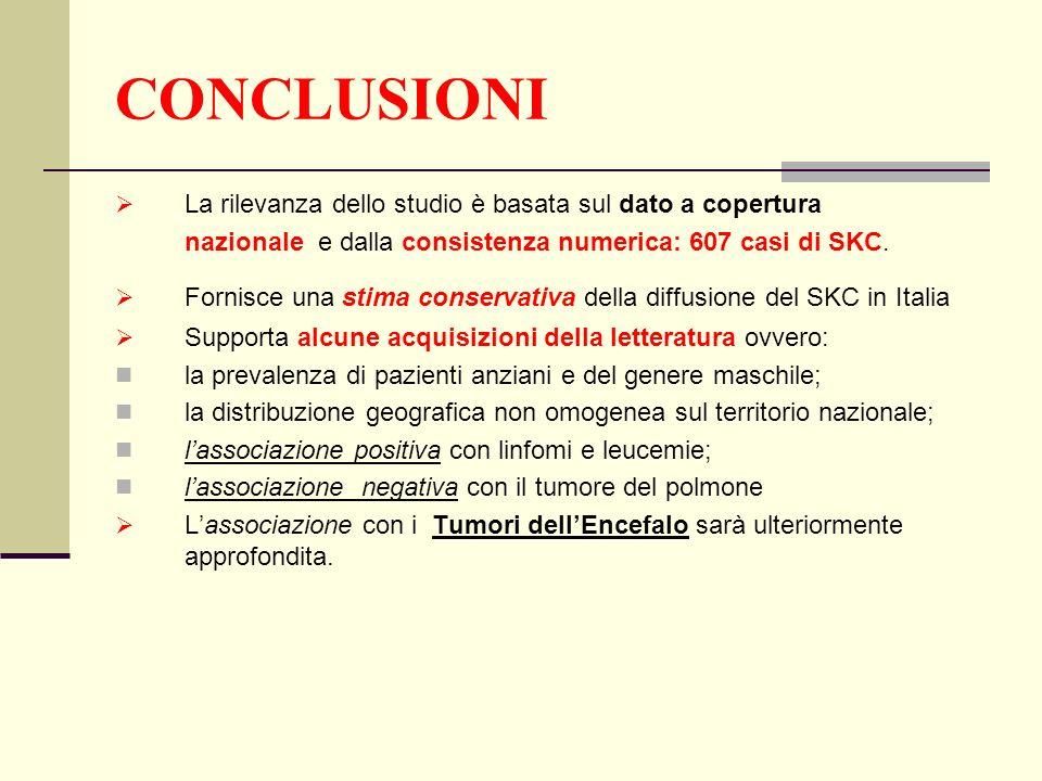 CONCLUSIONI La rilevanza dello studio è basata sul dato a copertura nazionale e dalla consistenza numerica: 607 casi di SKC. Fornisce una stima conser