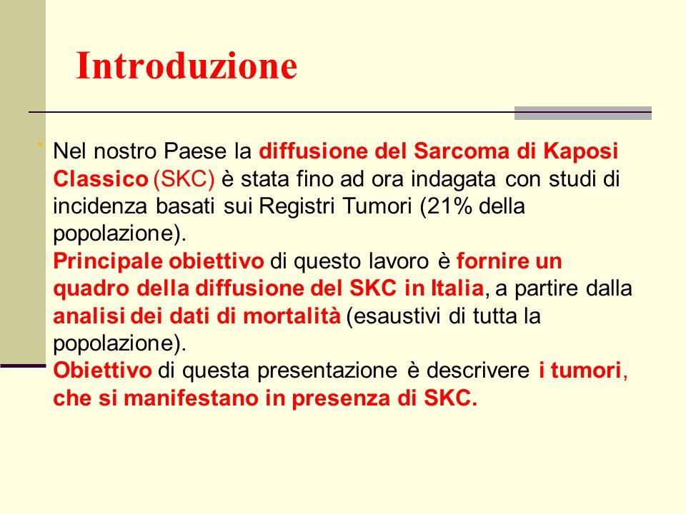 Introduzione. Nel nostro Paese la diffusione del Sarcoma di Kaposi Classico (SKC) è stata fino ad ora indagata con studi di incidenza basati sui Regis