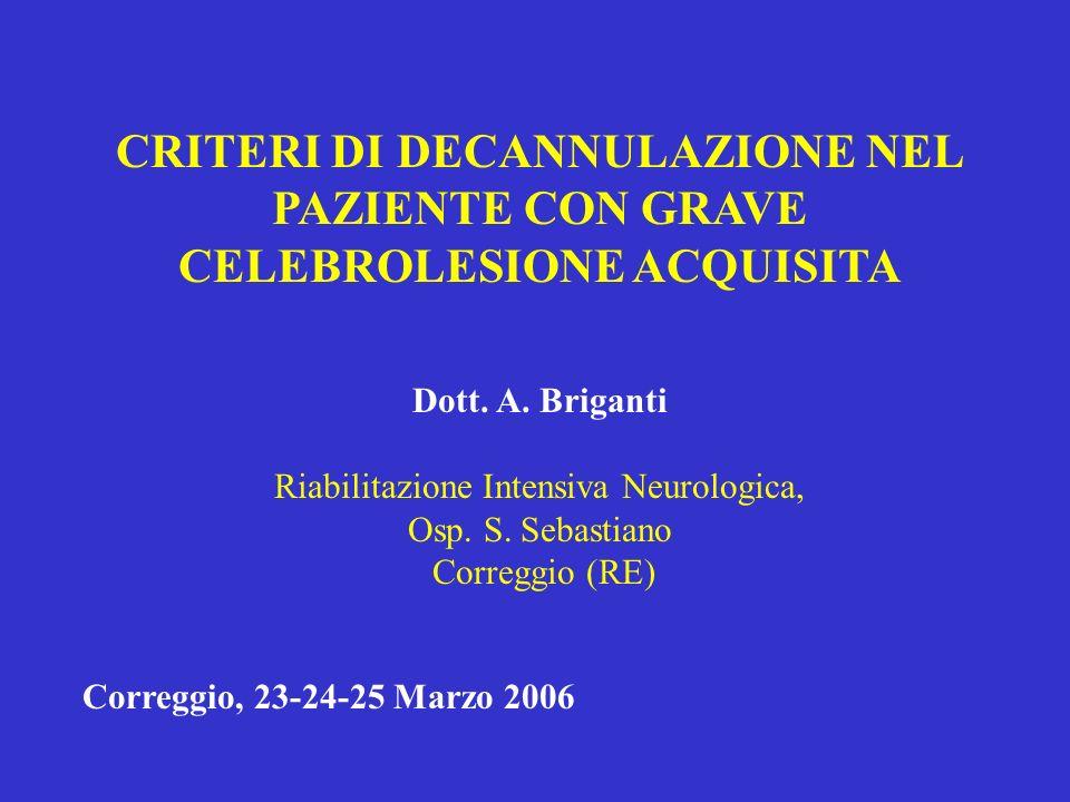 CRITERI DI DECANNULAZIONE NEL PAZIENTE CON GRAVE CELEBROLESIONE ACQUISITA Dott. A. Briganti Riabilitazione Intensiva Neurologica, Osp. S. Sebastiano C