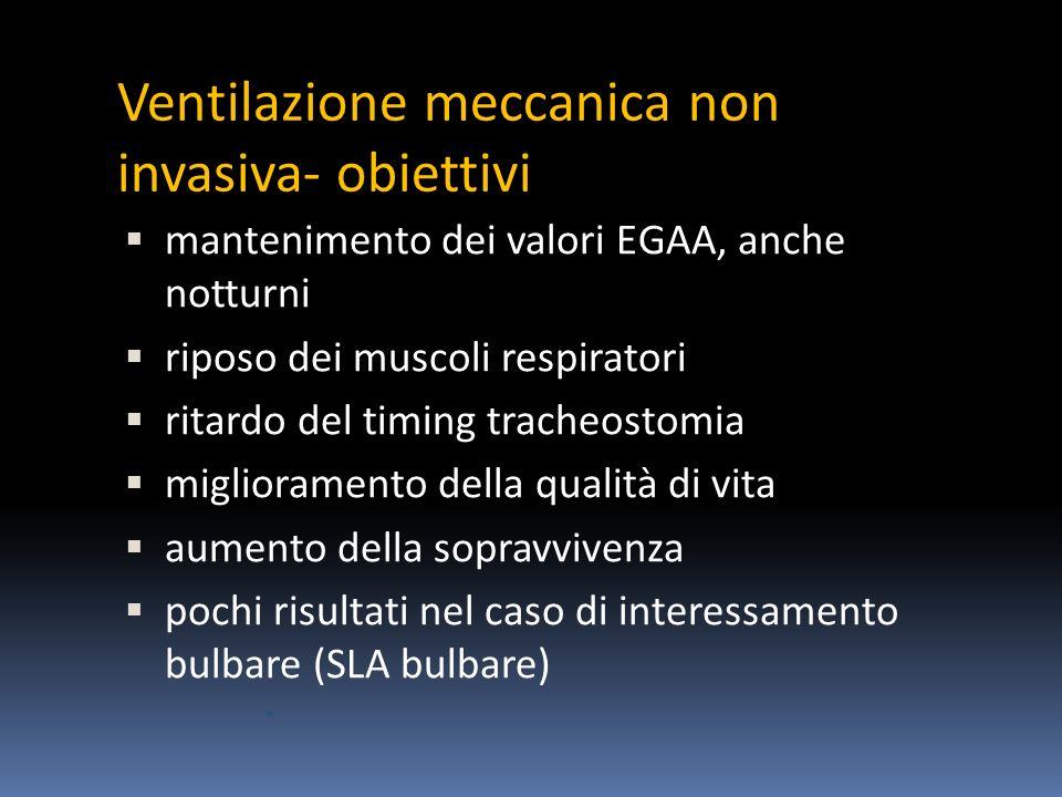 Ventilazione meccanica non invasiva- obiettivi mantenimento dei valori EGAA, anche notturni riposo dei muscoli respiratori ritardo del timing tracheostomia miglioramento della qualità di vita aumento della sopravvivenza pochi risultati nel caso di interessamento bulbare (SLA bulbare)