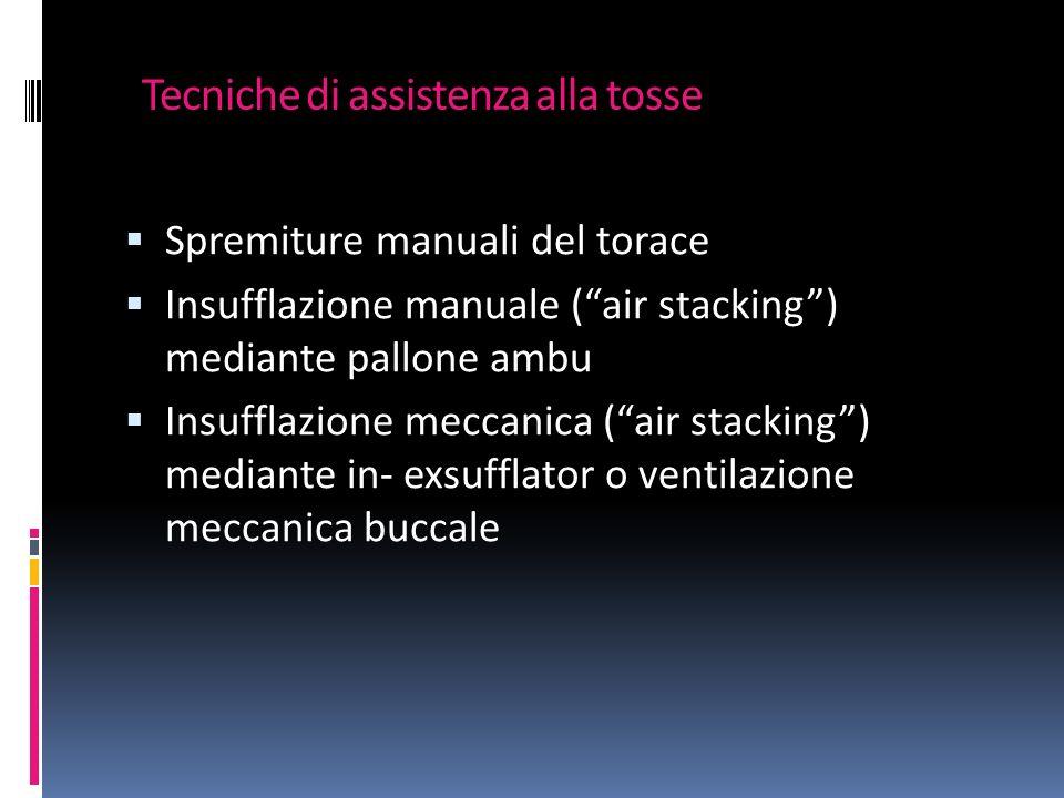 Tecniche di assistenza alla tosse Spremiture manuali del torace Insufflazione manuale (air stacking) mediante pallone ambu Insufflazione meccanica (air stacking) mediante in- exsufflator o ventilazione meccanica buccale