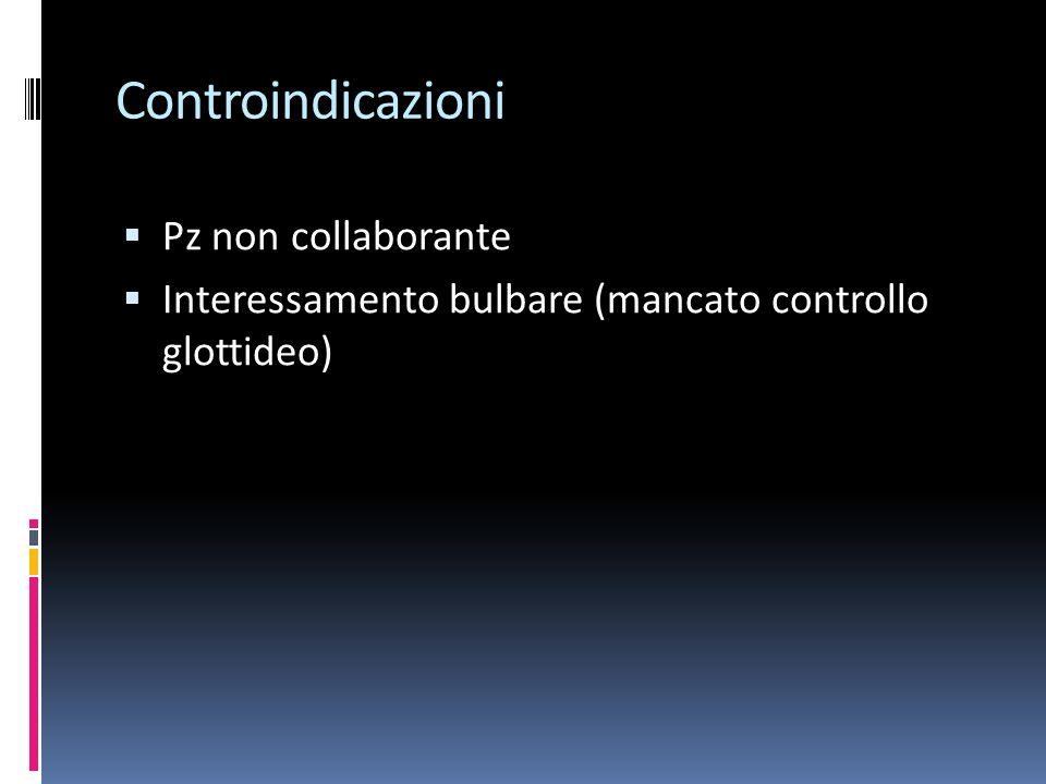 Controindicazioni Pz non collaborante Interessamento bulbare (mancato controllo glottideo)