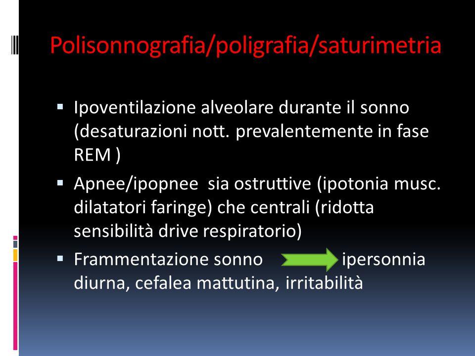 Polisonnografia/poligrafia/saturimetria Ipoventilazione alveolare durante il sonno (desaturazioni nott.