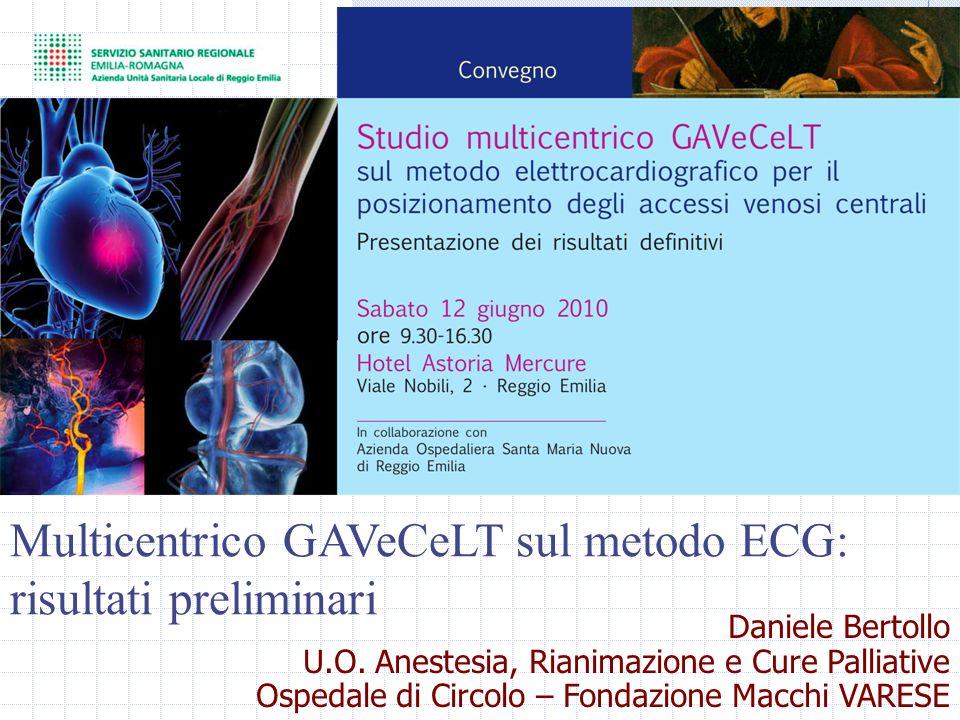 Multicentrico GAVeCeLT sul metodo ECG: risultati preliminari Daniele Bertollo U.O. Anestesia, Rianimazione e Cure Palliative Ospedale di Circolo – Fon