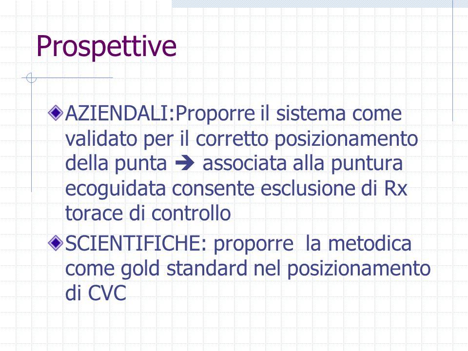 Prospettive AZIENDALI:Proporre il sistema come validato per il corretto posizionamento della punta associata alla puntura ecoguidata consente esclusio
