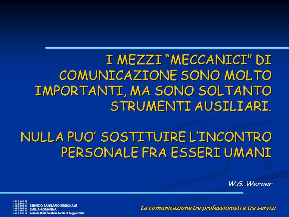 La comunicazione tra professionisti e tra servizi I MEZZI MECCANICI DI COMUNICAZIONE SONO MOLTO IMPORTANTI, MA SONO SOLTANTO STRUMENTI AUSILIARI. NULL
