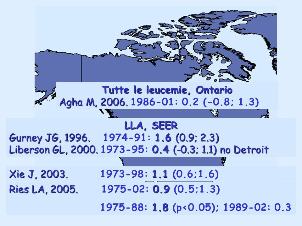 LLA, SEER Gurney JG, 1996. 1.6 (0.9; 2.3) Gurney JG, 1996. 1974-91: 1.6 (0.9; 2.3) Liberson GL, 2000.0.4 (-0.3; 1.1) no Detroit Liberson GL, 2000. 197