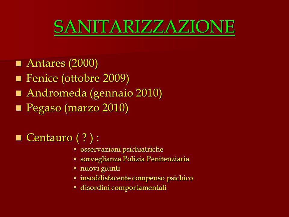 SANITARIZZAZIONE Antares (2000) Antares (2000) Fenice (ottobre 2009) Fenice (ottobre 2009) Andromeda (gennaio 2010) Andromeda (gennaio 2010) Pegaso (m